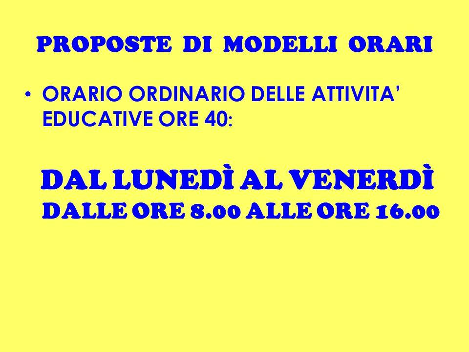 PROPOSTE DI MODELLI ORARI ORARIO ORDINARIO DELLE ATTIVITA EDUCATIVE ORE 40 : DAL LUNEDÌ AL VENERDÌ DALLE ORE 8.00 ALLE ORE 16.00