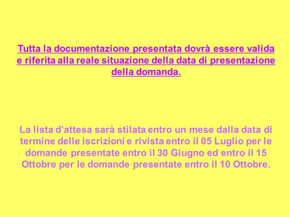 Tutta la documentazione presentata dovrà essere valida e riferita alla reale situazione della data di presentazione della domanda.