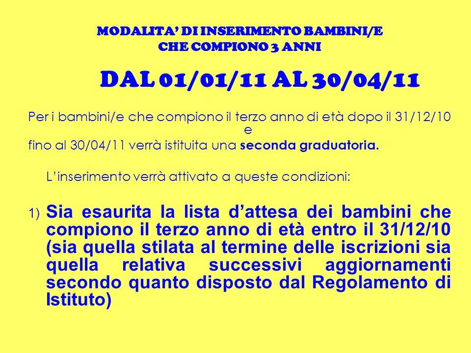 MODALITA DI INSERIMENTO BAMBINI/E CHE COMPIONO 3 ANNI DAL 01/01/11 AL 30/04/11 Per i bambini/e che compiono il terzo anno di età dopo il 31/12/10 e fi