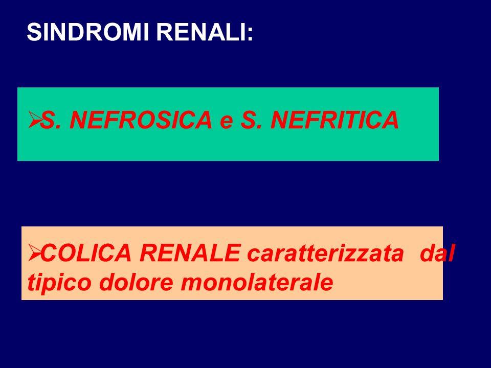 SINDROMI RENALI: S. NEFROSICA e S. NEFRITICA COLICA RENALE caratterizzata dal tipico dolore monolaterale