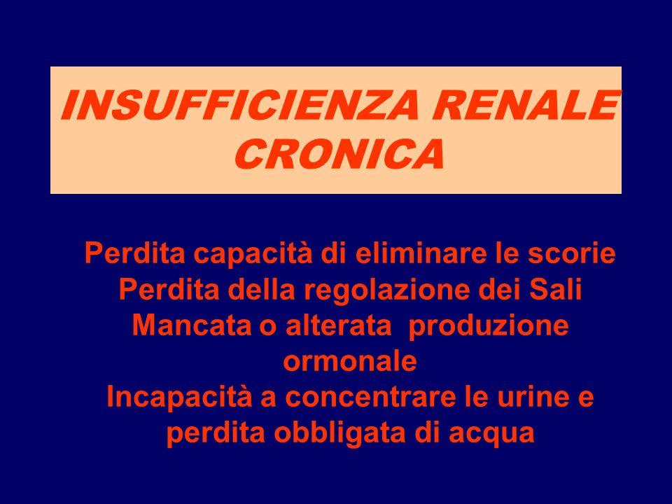 INSUFFICIENZA RENALE CRONICA Perdita capacità di eliminare le scorie Perdita della regolazione dei Sali Mancata o alterata produzione ormonale Incapac