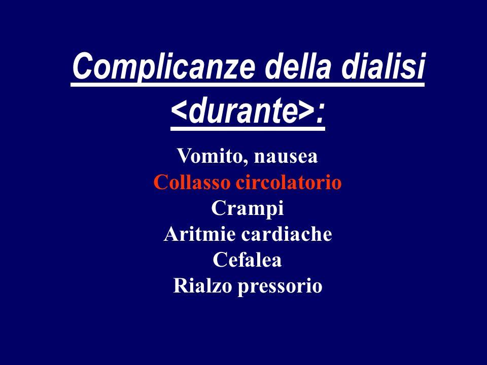 Complicanze della dialisi : Vomito, nausea Collasso circolatorio Crampi Aritmie cardiache Cefalea Rialzo pressorio