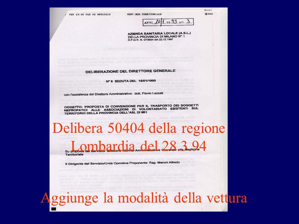 Aggiunge la modalità della vettura Delibera 50404 della regione Lombardia del 28.3.94