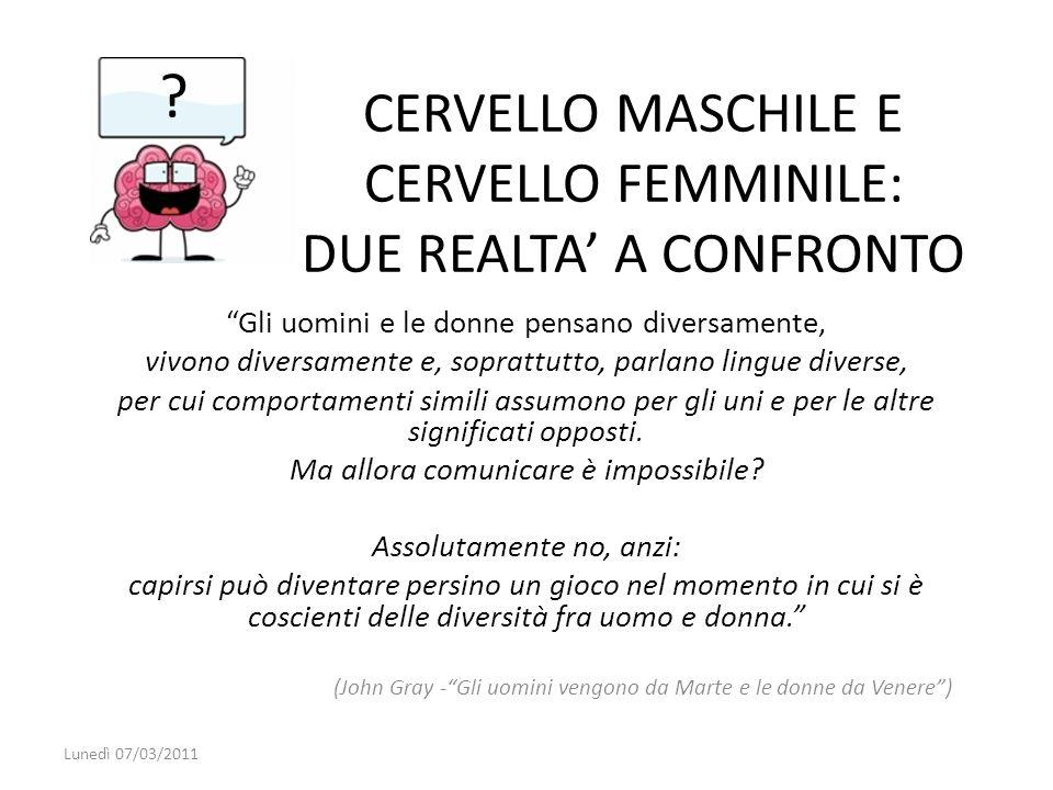 CERVELLO MASCHILE E CERVELLO FEMMINILE: DUE REALTA A CONFRONTO Gli uomini e le donne pensano diversamente, vivono diversamente e, soprattutto, parlano
