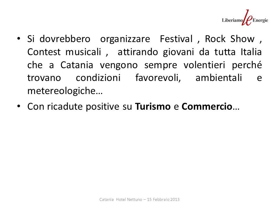 Catania Hotel Nettuno – 15 Febbraio 2013 Si dovrebbero organizzare Festival, Rock Show, Contest musicali, attirando giovani da tutta Italia che a Catania vengono sempre volentieri perché trovano condizioni favorevoli, ambientali e metereologiche… Con ricadute positive su Turismo e Commercio…