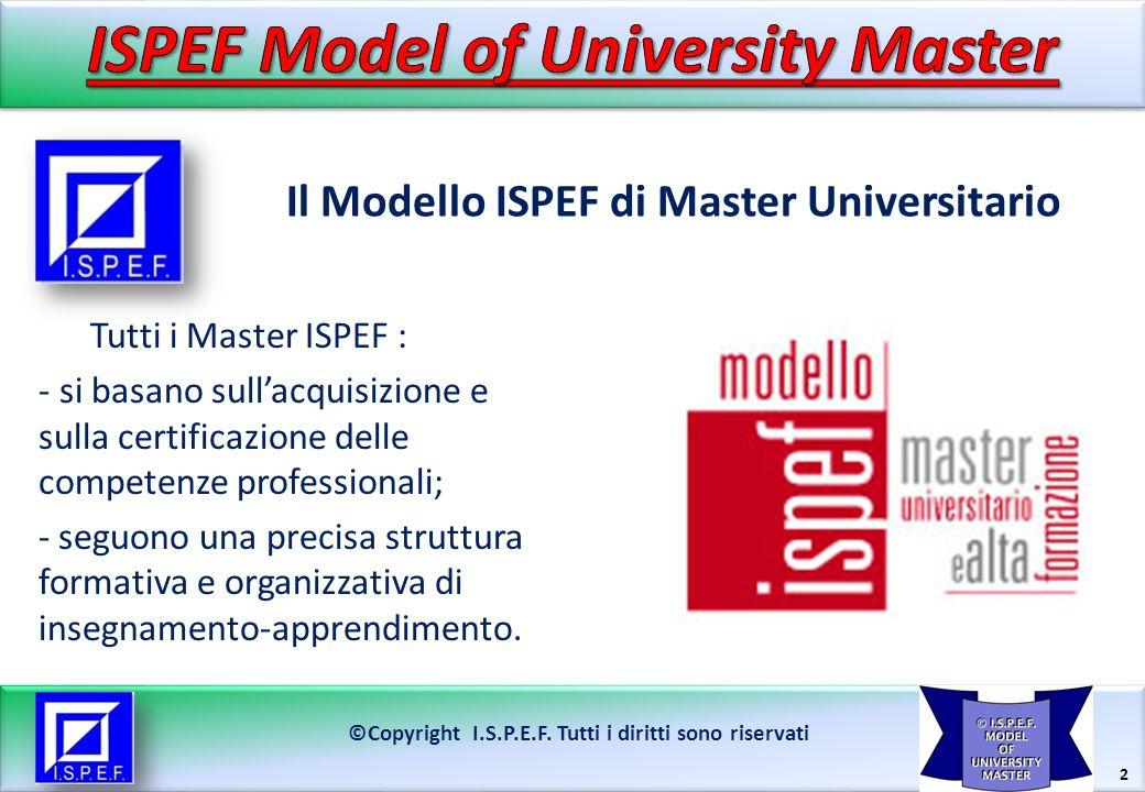 2 Il Modello ISPEF di Master Universitario ©Copyright I.S.P.E.F. Tutti i diritti sono riservati Tutti i Master ISPEF : - si basano sullacquisizione e