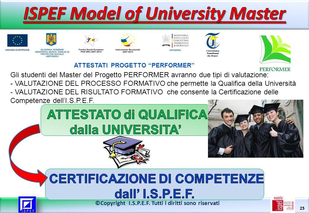 25 ©Copyright I.S.P.E.F. Tutti i diritti sono riservati Gli studenti del Master del Progetto PERFORMER avranno due tipi di valutazione: - VALUTAZIONE