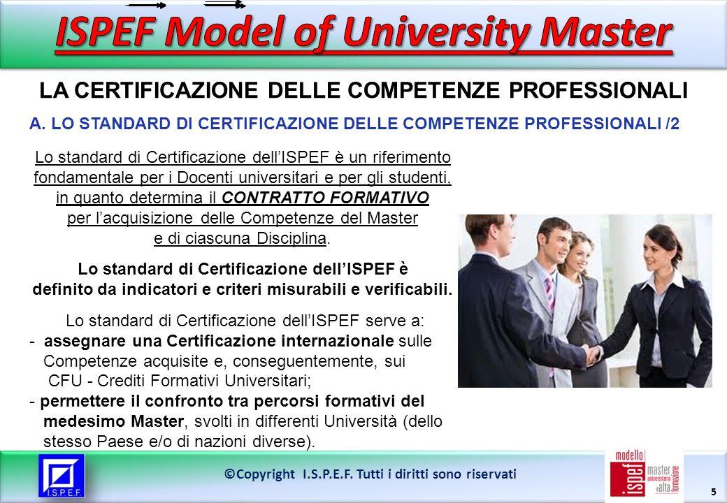 5 LA CERTIFICAZIONE DELLE COMPETENZE PROFESSIONALI ©Copyright I.S.P.E.F. Tutti i diritti sono riservati Lo standard di Certificazione dellISPEF è un r
