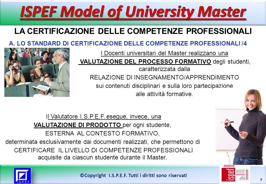 7 ©Copyright I.S.P.E.F. Tutti i diritti sono riservati I Docenti universitari del Master realizzano una VALUTAZIONE DEL PROCESSO FORMATIVO degli stude