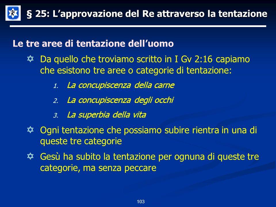 § 25: Lapprovazione del Re attraverso la tentazione Le tre aree di tentazione delluomo Da quello che troviamo scritto in I Gv 2:16 capiamo che esistono tre aree o categorie di tentazione: 1.
