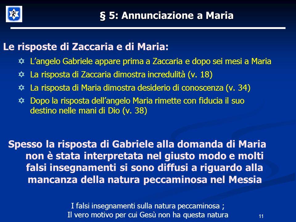 11 § 5: Annunciazione a Maria Le risposte di Zaccaria e di Maria: Langelo Gabriele appare prima a Zaccaria e dopo sei mesi a Maria La risposta di Zaccaria dimostra incredulità (v.