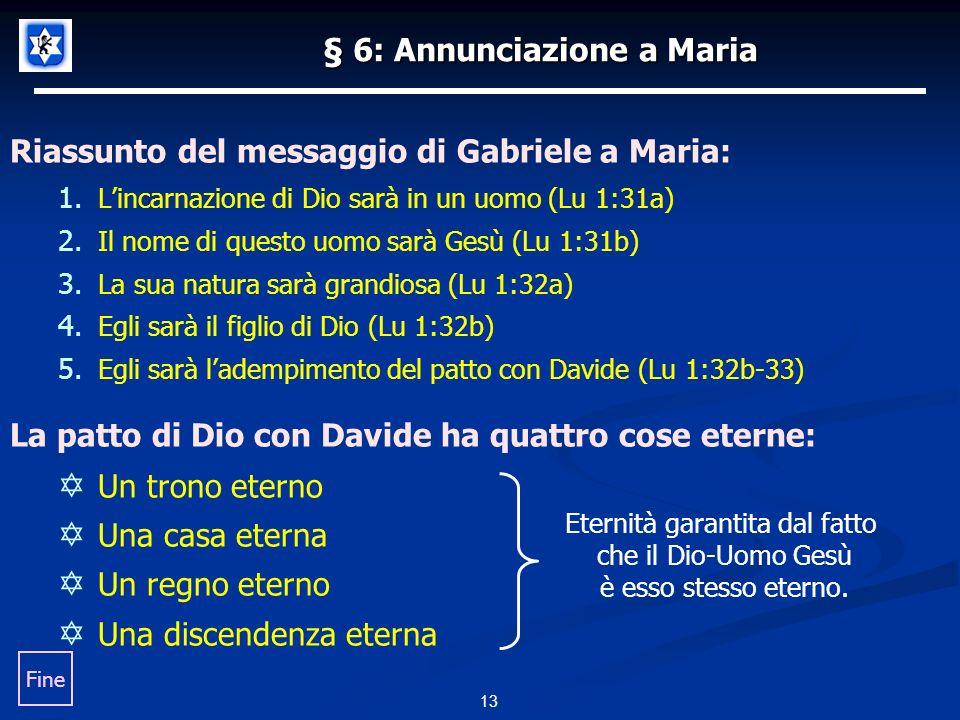 13 § 6: Annunciazione a Maria Riassunto del messaggio di Gabriele a Maria: 1.