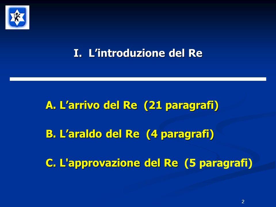 I. Lintroduzione del Re A.Larrivo del Re (21 paragrafi) B.Laraldo del Re (4 paragrafi) C.L'approvazione del Re C.L'approvazione del Re (5 paragrafi) 2