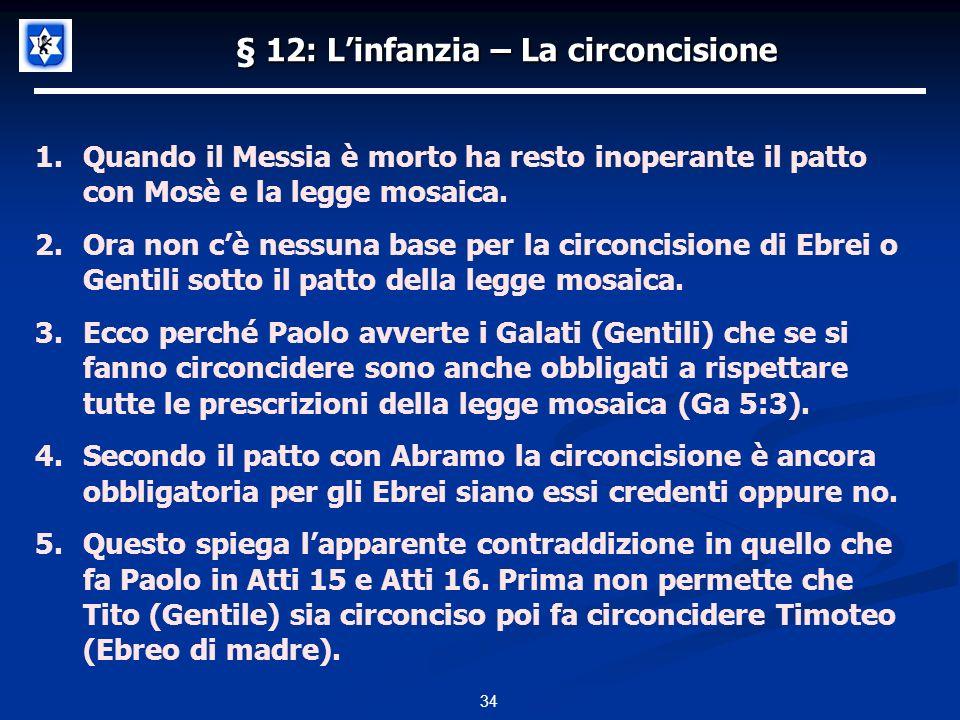 § 12: Linfanzia – La circoncisione 34 1.Quando il Messia è morto ha resto inoperante il patto con Mosè e la legge mosaica.