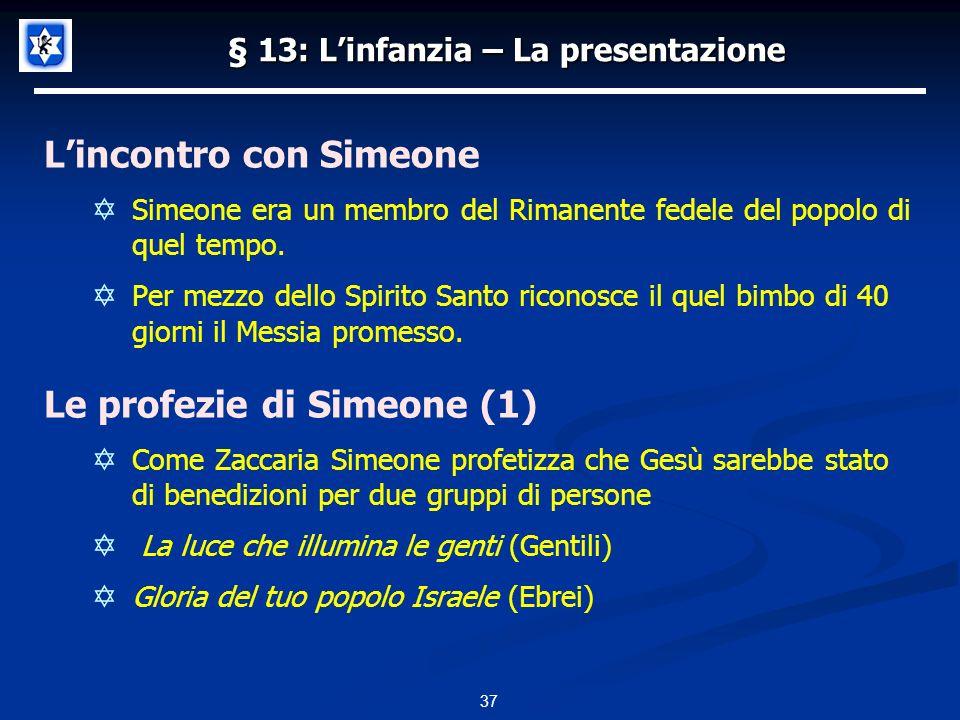§ 13: Linfanzia – La presentazione Lincontro con Simeone Simeone era un membro del Rimanente fedele del popolo di quel tempo.