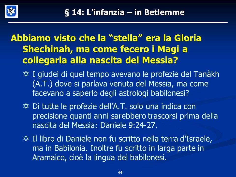 § 14: Linfanzia – in Betlemme Abbiamo visto che la stella era la Gloria Shechinah, ma come fecero i Magi a collegarla alla nascita del Messia.