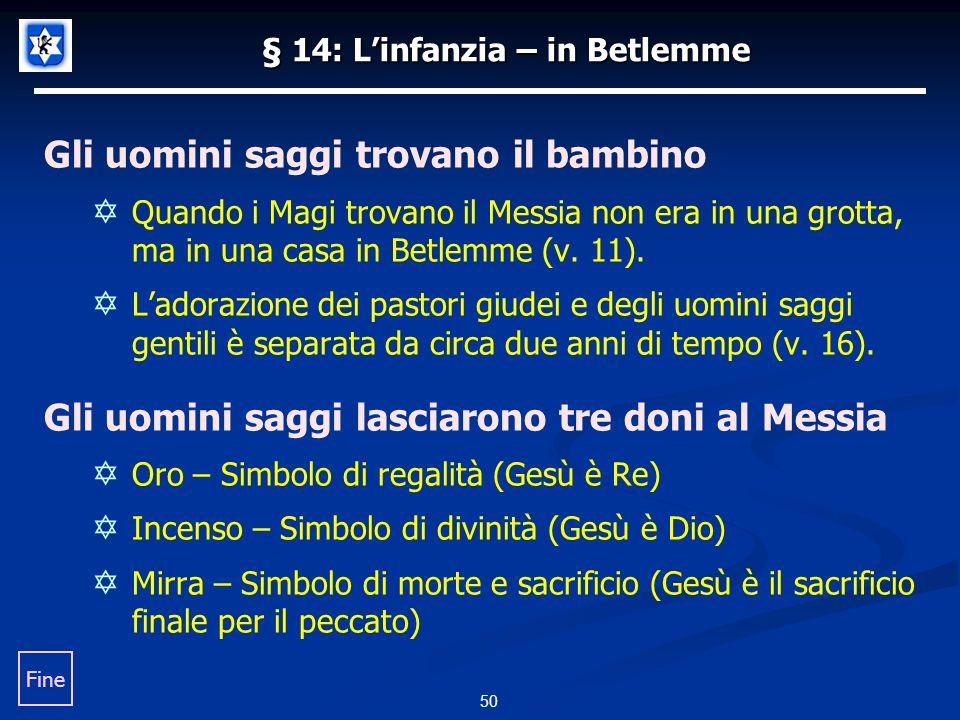 § 14: Linfanzia – in Betlemme Gli uomini saggi trovano il bambino Quando i Magi trovano il Messia non era in una grotta, ma in una casa in Betlemme (v.