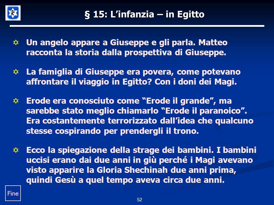 § 15: Linfanzia – in Egitto Un angelo appare a Giuseppe e gli parla.