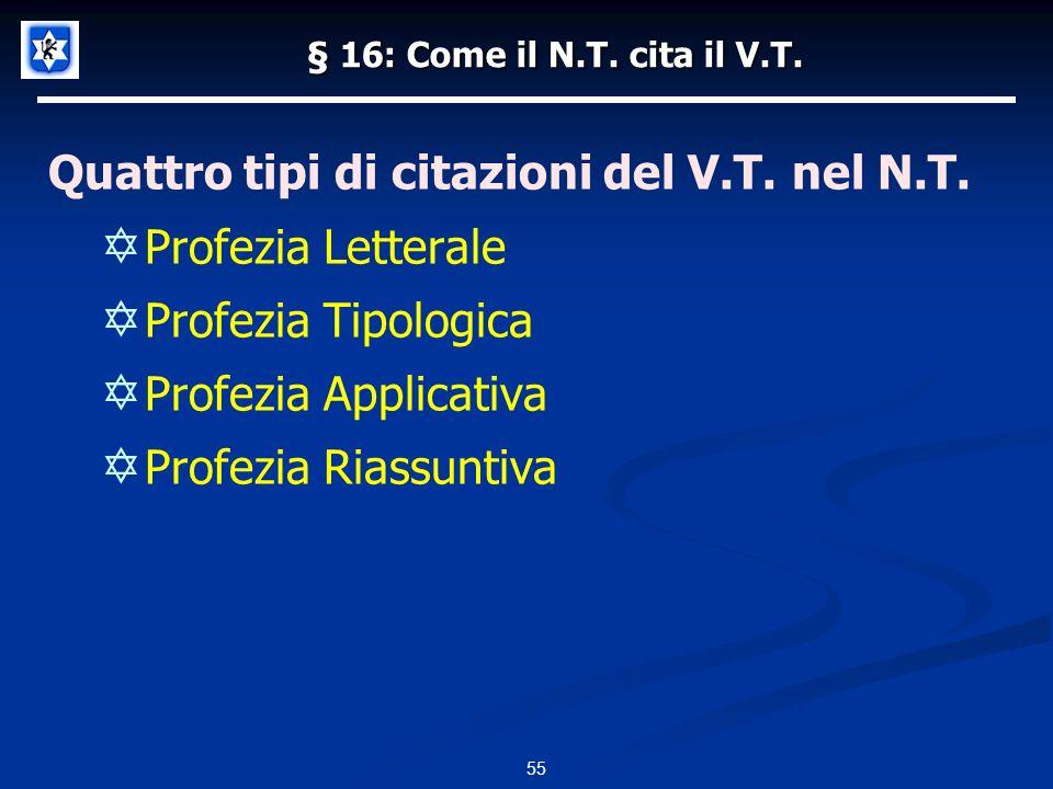 § 16: Come il N.T.cita il V.T. Quattro tipi di citazioni del V.T.