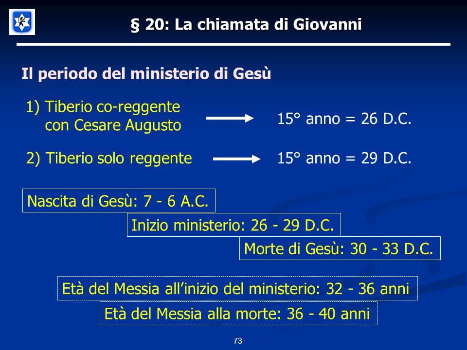 § 20: La chiamata di Giovanni Il periodo del ministerio di Gesù 73 15° anno = 26 D.C.
