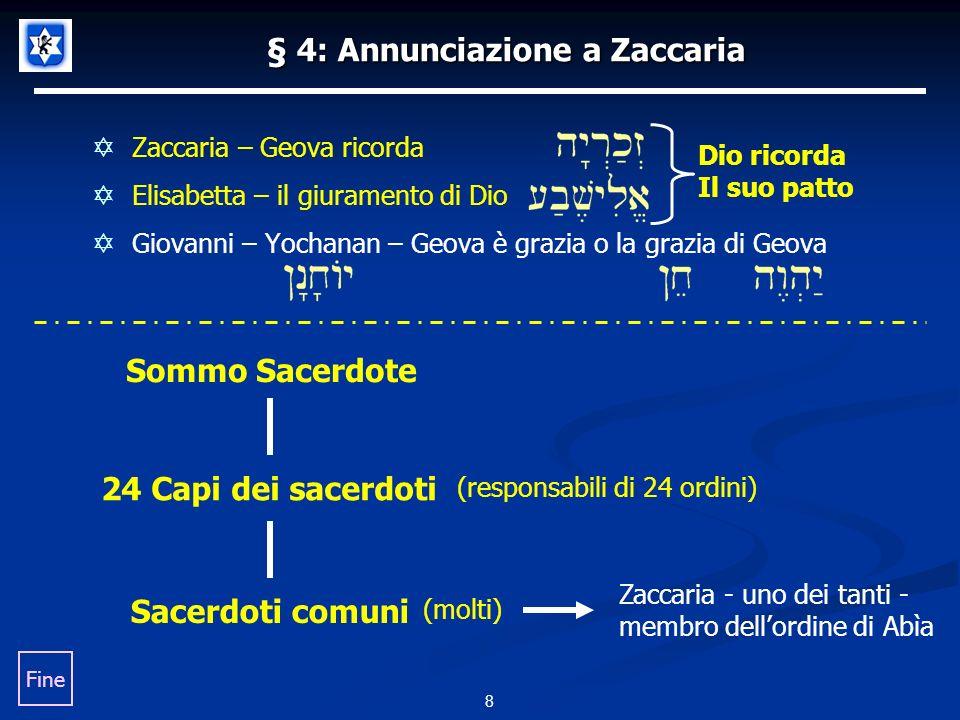 § 4: Annunciazione a Zaccaria Zaccaria – Geova ricorda Elisabetta – il giuramento di Dio Giovanni – Yochanan – Geova è grazia o la grazia di Geova 8 Sommo Sacerdote 24 Capi dei sacerdoti Sacerdoti comuni (responsabili di 24 ordini) (molti) Zaccaria - uno dei tanti - membro dellordine di Abìa Fine Dio ricorda Il suo patto