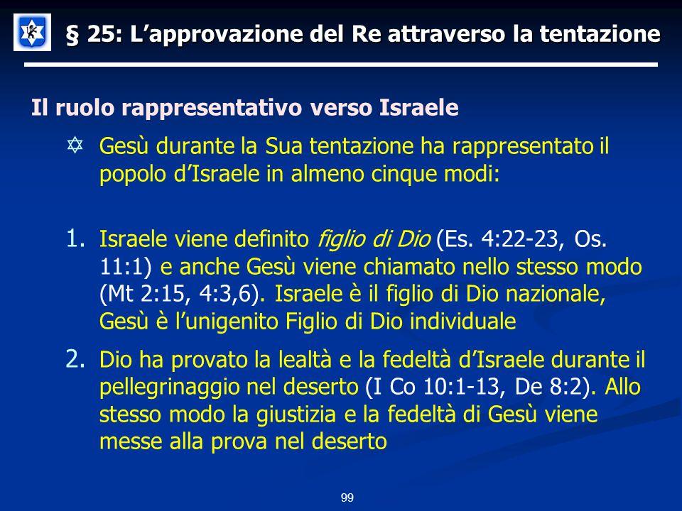§ 25: Lapprovazione del Re attraverso la tentazione Il ruolo rappresentativo verso Israele Gesù durante la Sua tentazione ha rappresentato il popolo dIsraele in almeno cinque modi: 1.