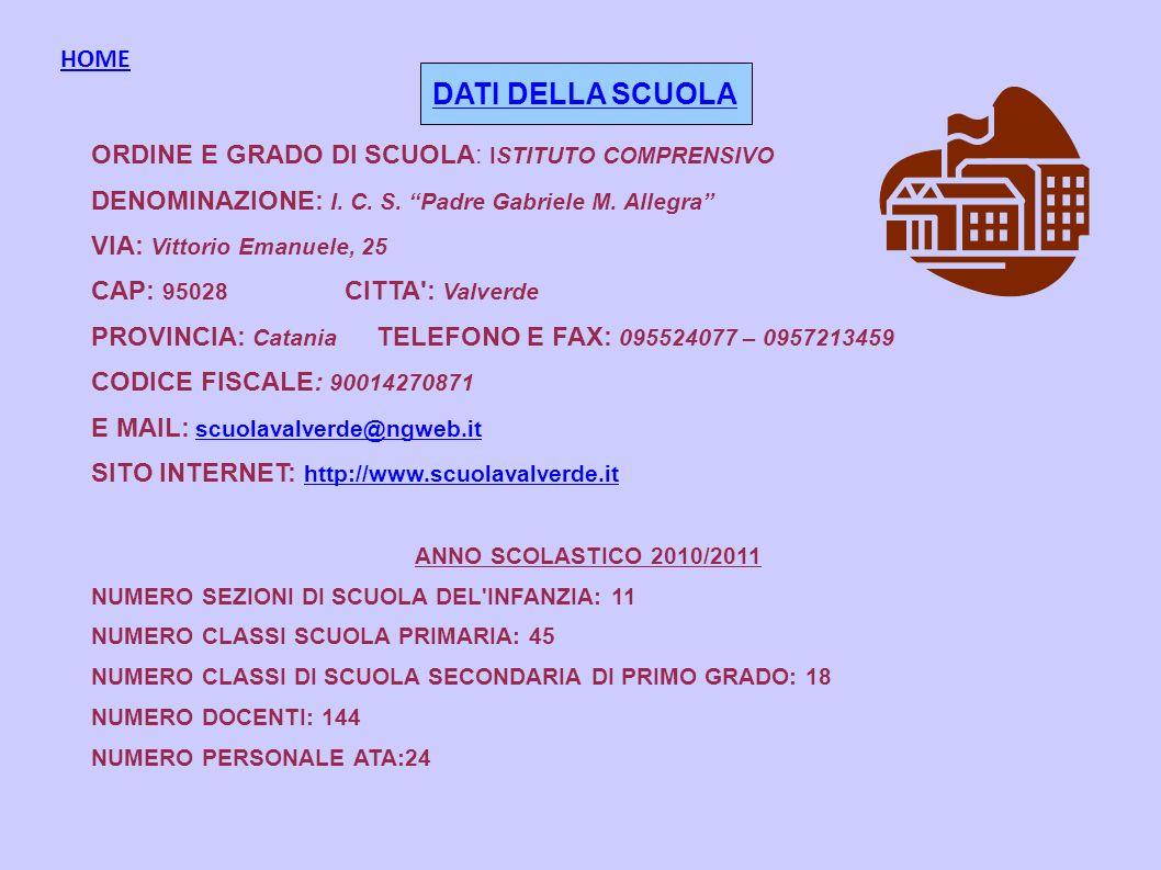 ORDINE E GRADO DI SCUOLA: ISTITUTO COMPRENSIVO DENOMINAZIONE: I. C. S. Padre Gabriele M. Allegra VIA: Vittorio Emanuele, 25 CAP: 95028 CITTA': Valverd