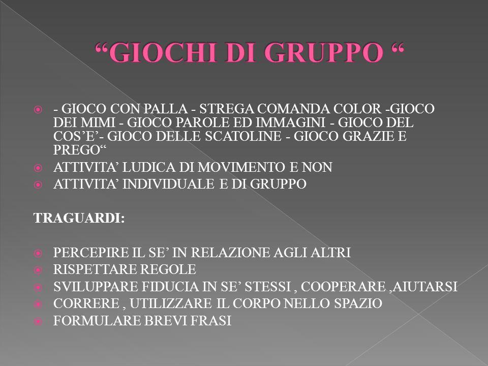 - GIOCO CON PALLA - STREGA COMANDA COLOR -GIOCO DEI MIMI - GIOCO PAROLE ED IMMAGINI - GIOCO DEL COSE- GIOCO DELLE SCATOLINE - GIOCO GRAZIE E PREGO ATT