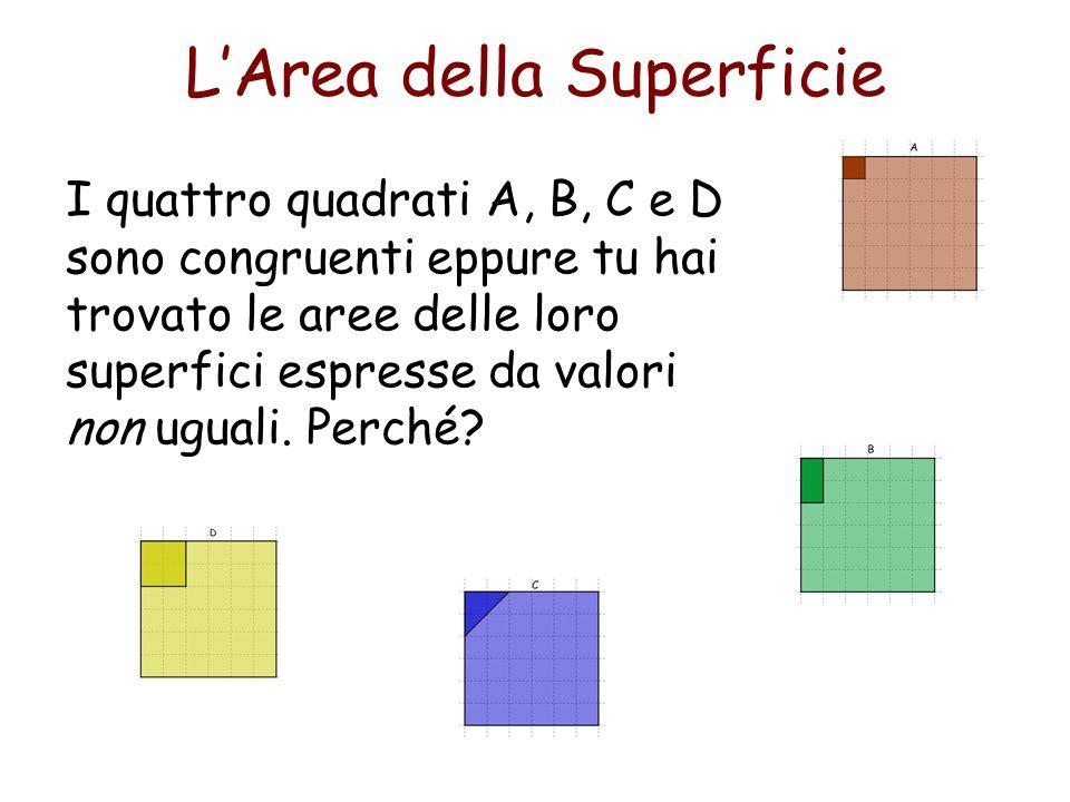 E facile valutare larea di rettangoli disegnati su carta quadrettata, su reticoli a maglie o con la superficie ricoperta da quadrati: basta contare il numero dei quadrati o delle maglie racchiuse nel contorno dei rettangoli.