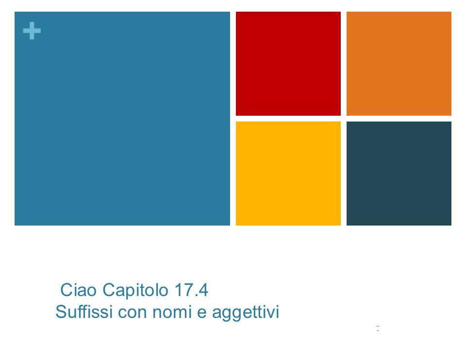 + Ciao Capitolo 17.4 Suffissi con nomi e aggettivi -io -on