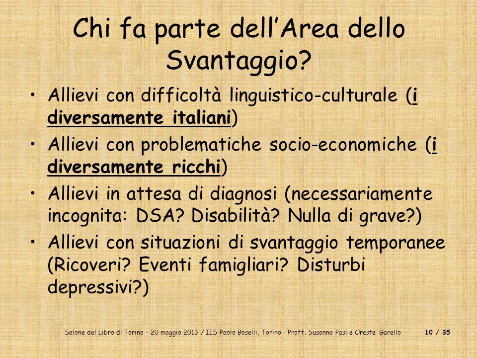 Salone del Libro di Torino - 20 maggio 2013 / IIS Paolo Boselli, Torino - Proff. Susanna Pasi e Oreste Garello10 / 35 Chi fa parte dellArea dello Svan