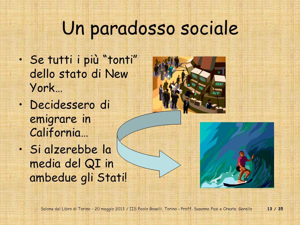 Salone del Libro di Torino - 20 maggio 2013 / IIS Paolo Boselli, Torino - Proff. Susanna Pasi e Oreste Garello13 / 35 Un paradosso sociale Se tutti i