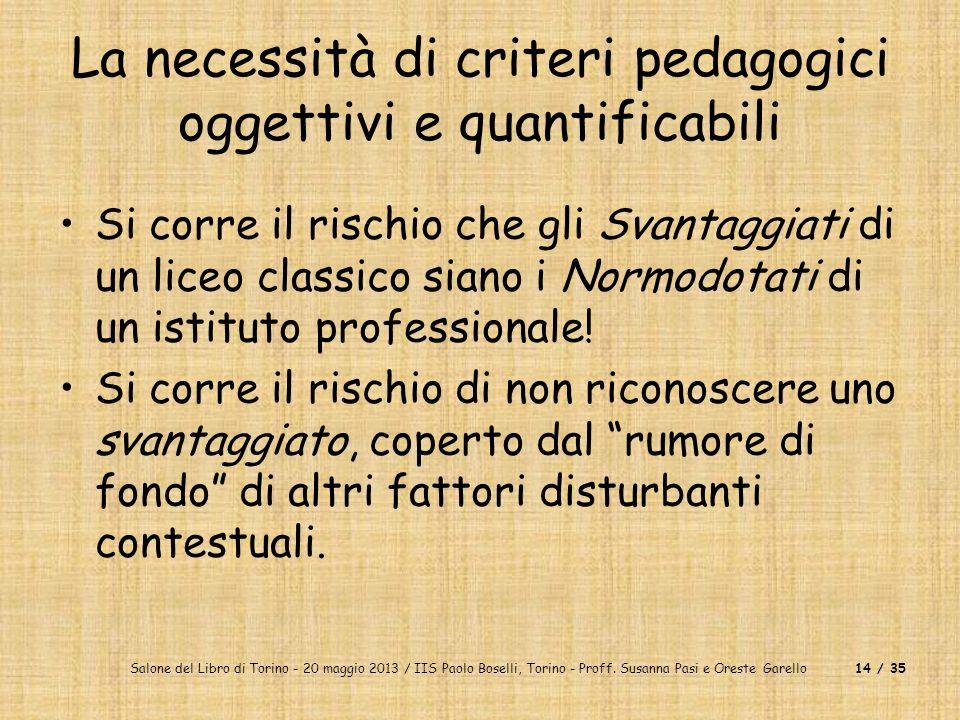 Salone del Libro di Torino - 20 maggio 2013 / IIS Paolo Boselli, Torino - Proff. Susanna Pasi e Oreste Garello14 / 35 La necessità di criteri pedagogi