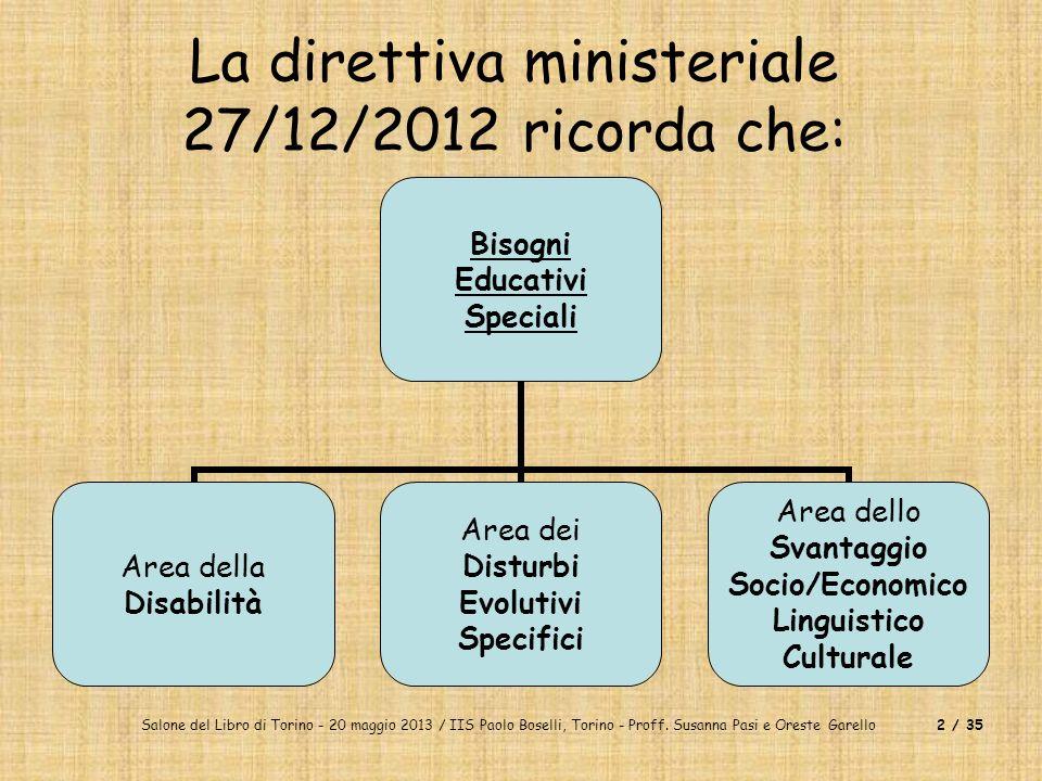Salone del Libro di Torino - 20 maggio 2013 / IIS Paolo Boselli, Torino - Proff. Susanna Pasi e Oreste Garello2 / 35 La direttiva ministeriale 27/12/2
