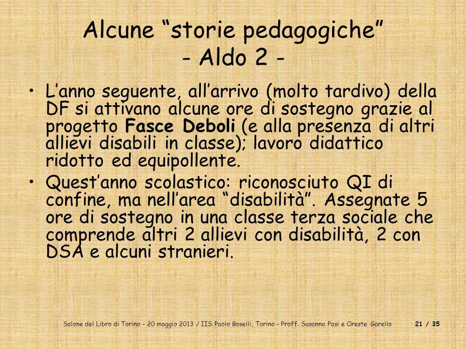 Salone del Libro di Torino - 20 maggio 2013 / IIS Paolo Boselli, Torino - Proff. Susanna Pasi e Oreste Garello21 / 35 Alcune storie pedagogiche - Aldo