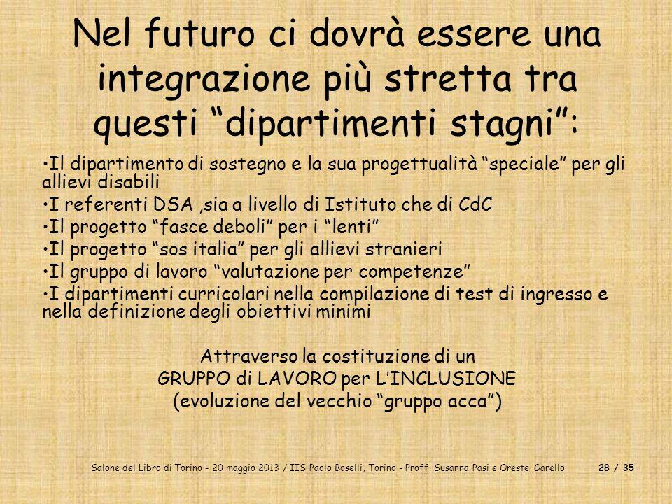 Salone del Libro di Torino - 20 maggio 2013 / IIS Paolo Boselli, Torino - Proff. Susanna Pasi e Oreste Garello28 / 35 Nel futuro ci dovrà essere una i