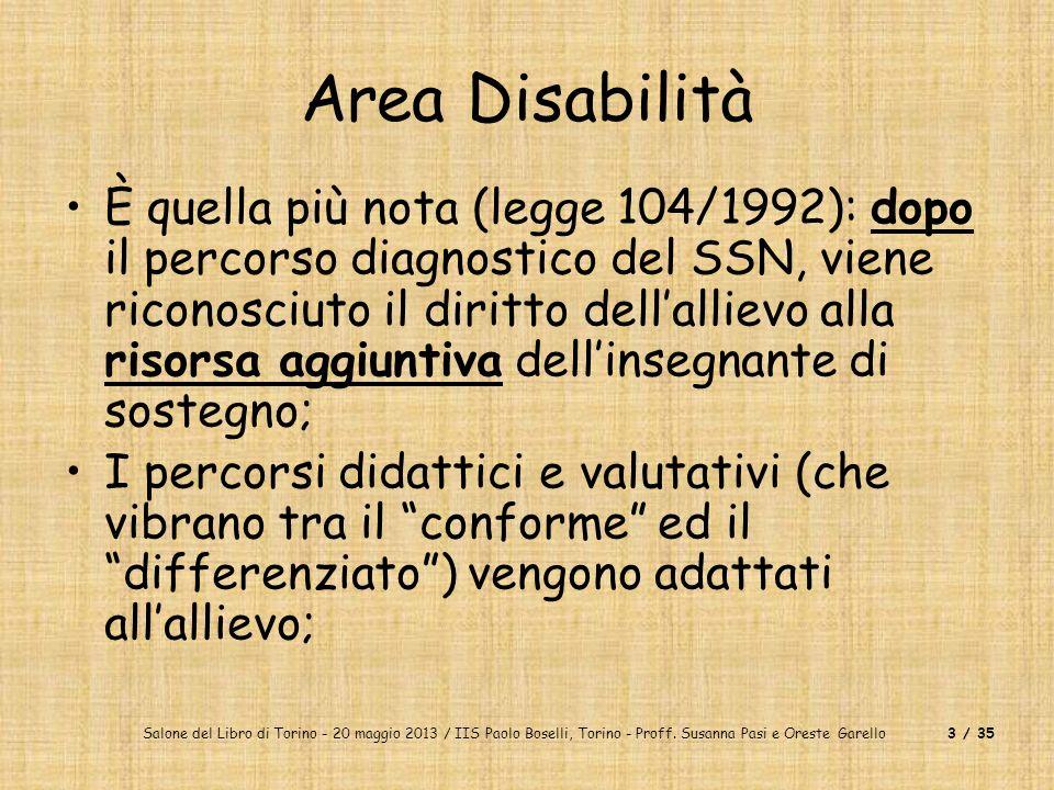 Salone del Libro di Torino - 20 maggio 2013 / IIS Paolo Boselli, Torino - Proff. Susanna Pasi e Oreste Garello3 / 35 Area Disabilità È quella più nota