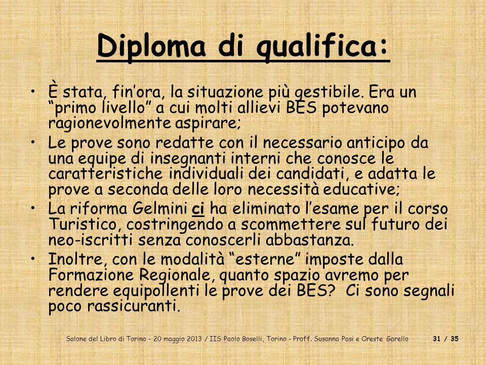 Salone del Libro di Torino - 20 maggio 2013 / IIS Paolo Boselli, Torino - Proff. Susanna Pasi e Oreste Garello31 / 35 Diploma di qualifica: È stata, f