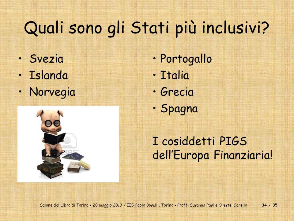 Salone del Libro di Torino - 20 maggio 2013 / IIS Paolo Boselli, Torino - Proff. Susanna Pasi e Oreste Garello34 / 35 Quali sono gli Stati più inclusi