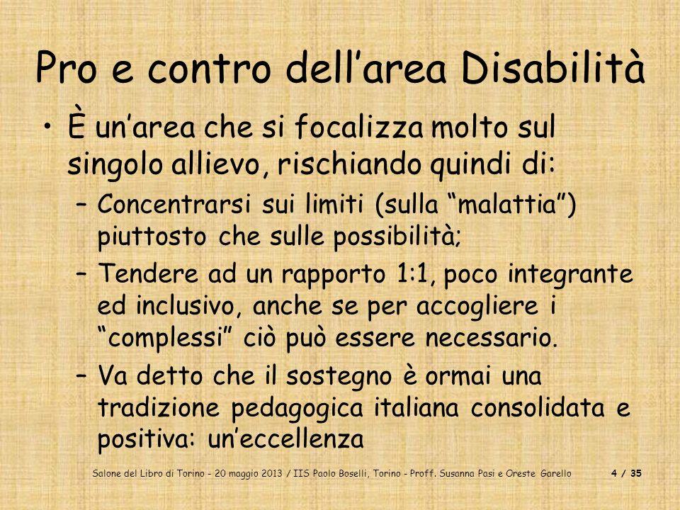 Salone del Libro di Torino - 20 maggio 2013 / IIS Paolo Boselli, Torino - Proff. Susanna Pasi e Oreste Garello4 / 35 Pro e contro dellarea Disabilità