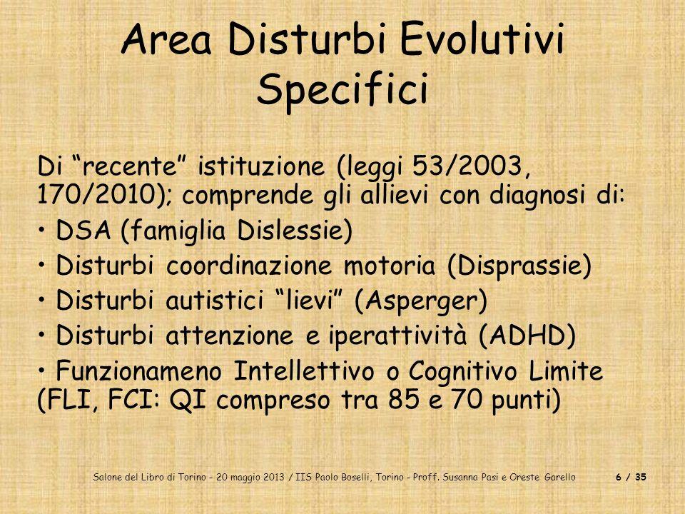 Salone del Libro di Torino - 20 maggio 2013 / IIS Paolo Boselli, Torino - Proff. Susanna Pasi e Oreste Garello6 / 35 Area Disturbi Evolutivi Specifici