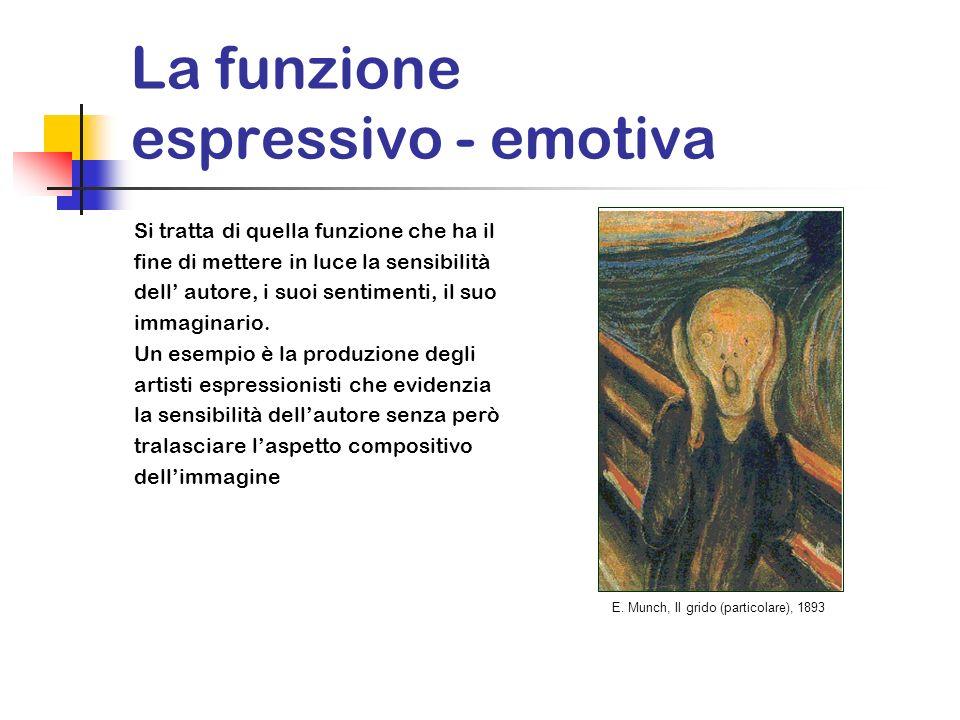 La funzione espressivo - emotiva Si tratta di quella funzione che ha il fine di mettere in luce la sensibilità dell autore, i suoi sentimenti, il suo