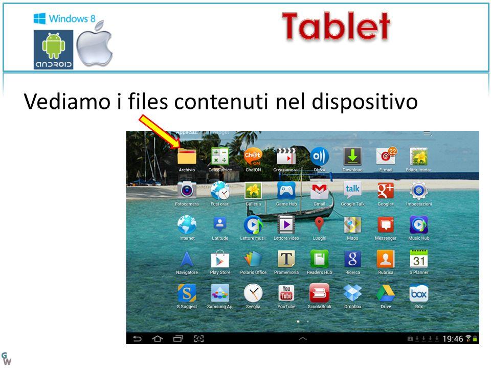 Vediamo i files contenuti nel dispositivo