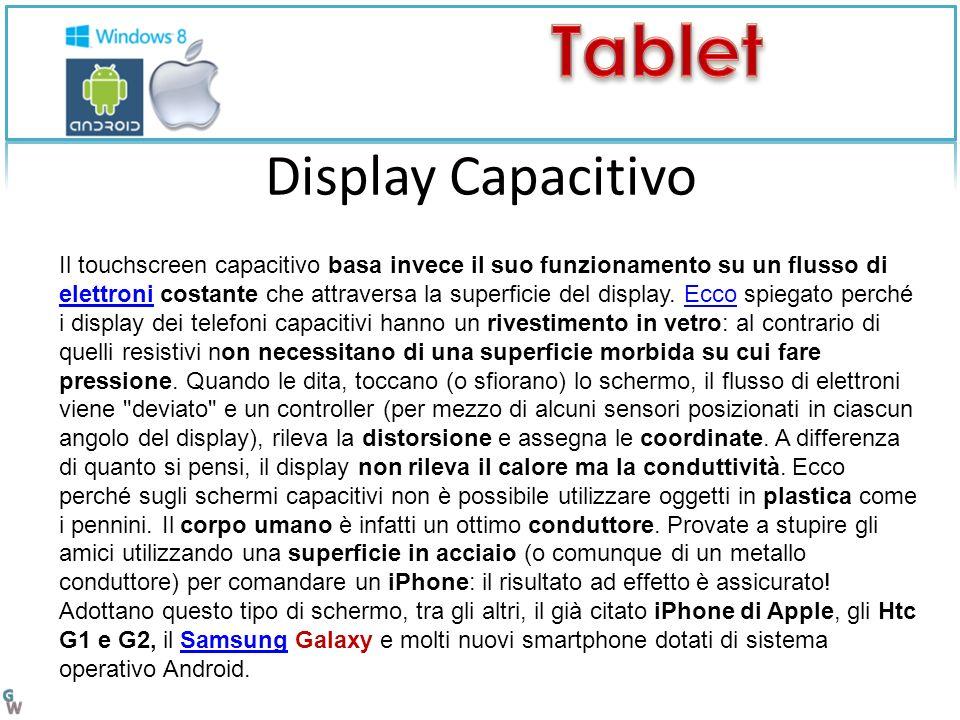 Il touchscreen capacitivo basa invece il suo funzionamento su un flusso di elettroni costante che attraversa la superficie del display.