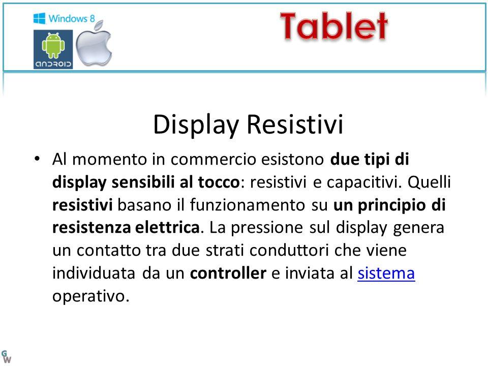 Display Resistivi Al momento in commercio esistono due tipi di display sensibili al tocco: resistivi e capacitivi.