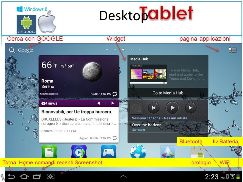 Desktop Cerca con GOOGLE Widget pagina applicazioni Torna Home comandi recenti Screenshot orologio WiFi Bluetooth liv Batteria