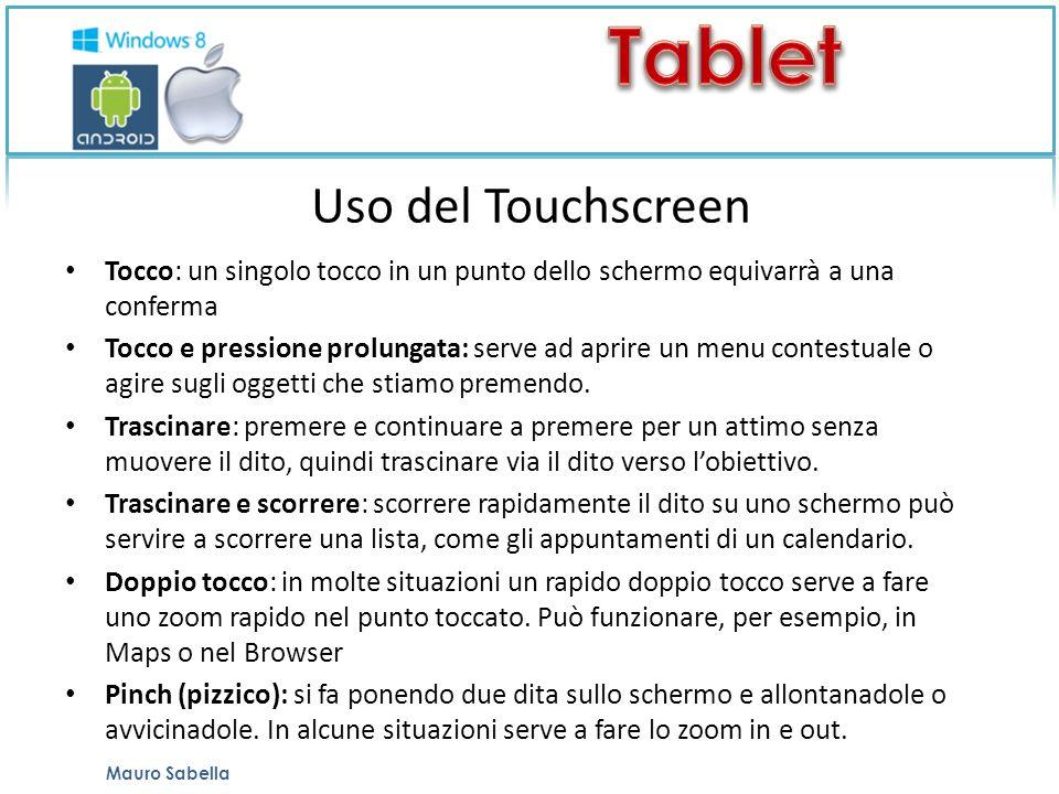 Uso del Touchscreen Tocco: un singolo tocco in un punto dello schermo equivarrà a una conferma Tocco e pressione prolungata: serve ad aprire un menu contestuale o agire sugli oggetti che stiamo premendo.