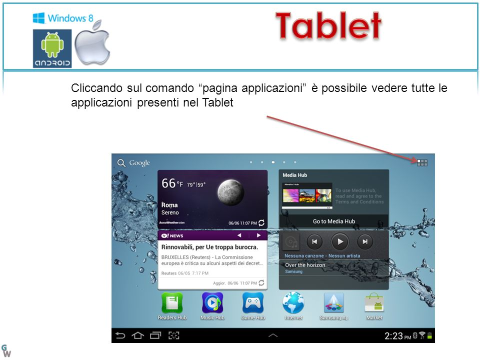 Cliccando sul comando pagina applicazioni è possibile vedere tutte le applicazioni presenti nel Tablet