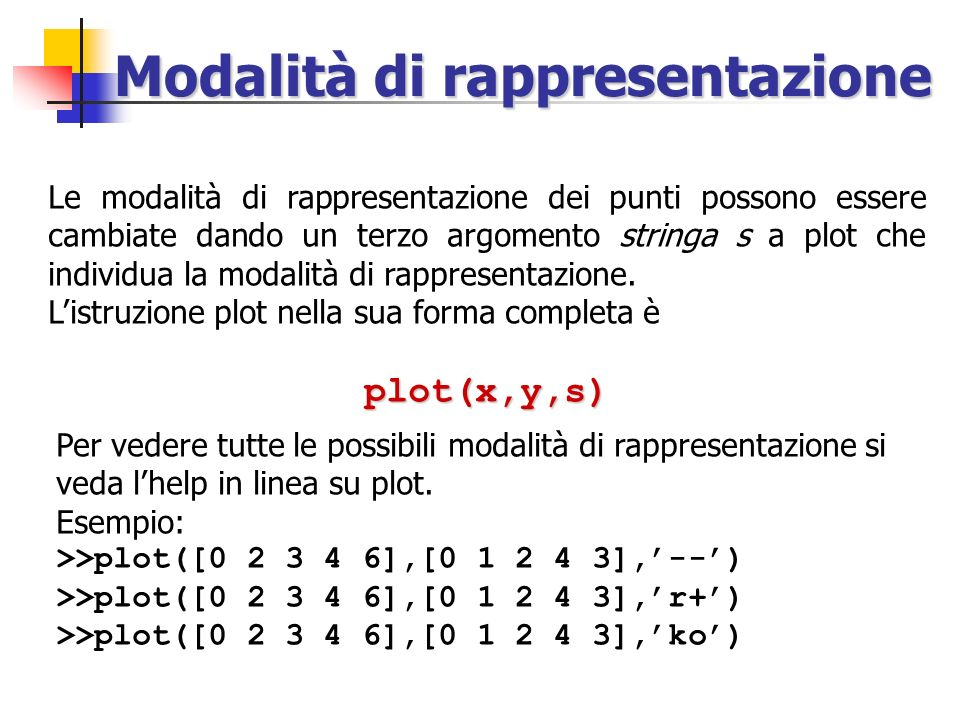 Plot di funzioni reali Il grafico della funzione f(x) = sin x nellintervallo [0, 2] si ottiene con le istruzioni: >> h=0.01; >> x=0:h:2*pi; >> y=sin(x); >> plot(x,y) h è il passo di campionamento della variabile indipendente x.
