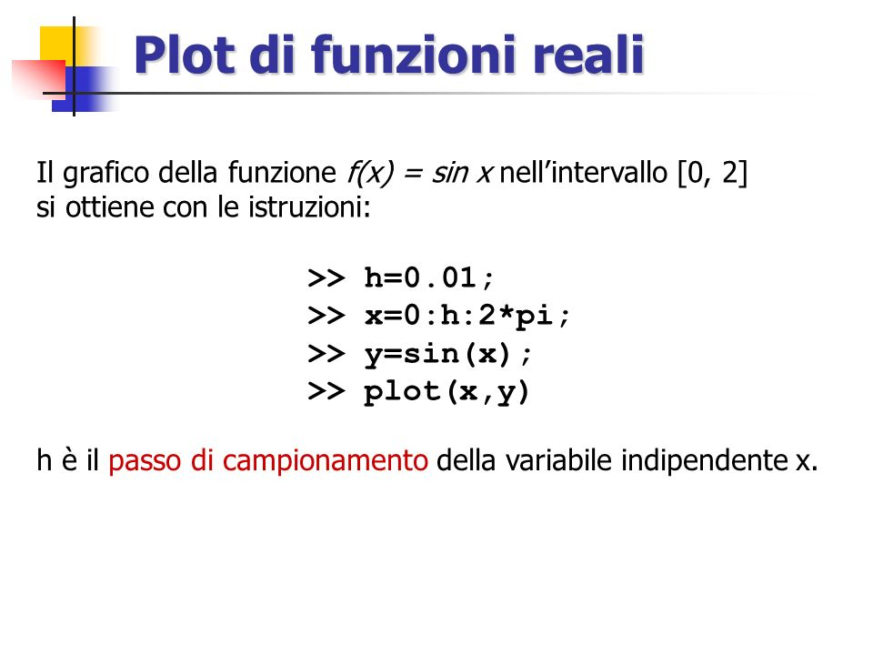 Plot di funzioni reali Il grafico della funzione f(x) = sin x nellintervallo [0, 2] si ottiene con le istruzioni: >> h=0.01; >> x=0:h:2*pi; >> y=sin(x